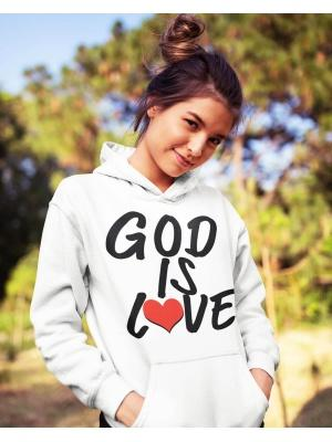 God is love logo unisex white hoodie