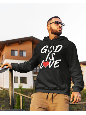 God is love logo white font blackhoodie