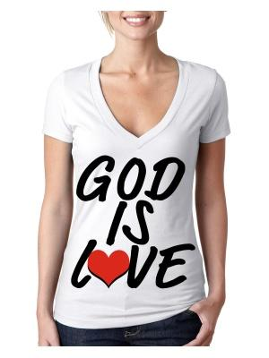 God Is Love Logo V Neck White Tee