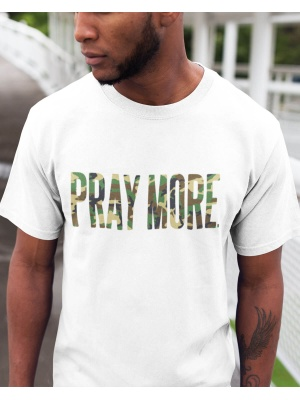 Pray More Camo Font White Tee